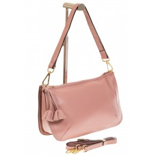 На фото 1 - Розовая сумка багет из натуральной кожи F90...