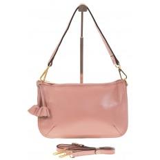 На фото 2 - Розовая сумка багет из натуральной кожи F906