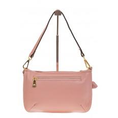 На фото 3 - Розовая сумка багет из натуральной кожи F906