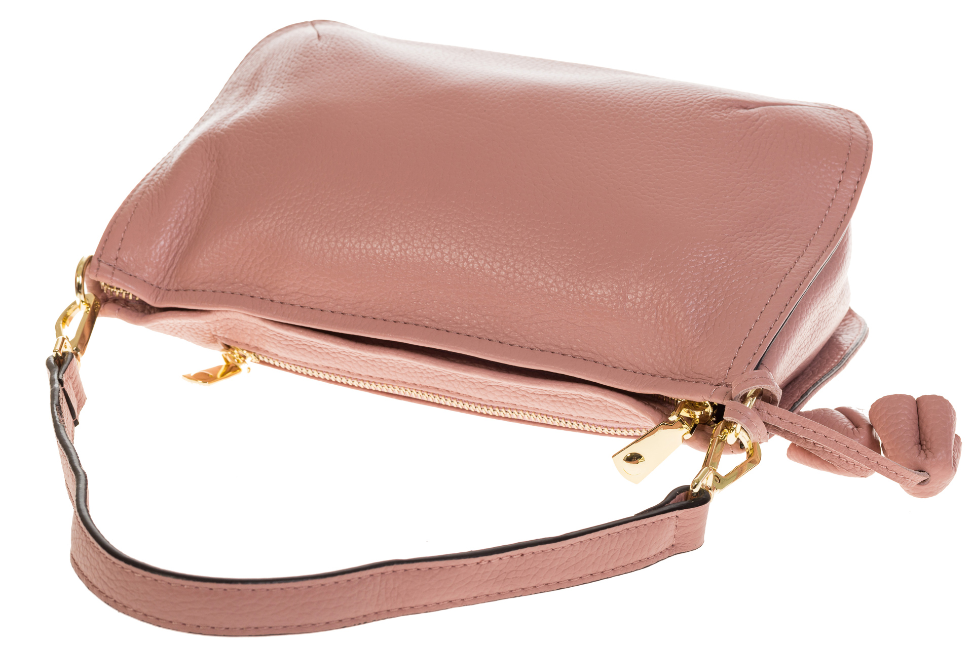 На фото 4 - Розовая сумка багет из натуральной кожи F906