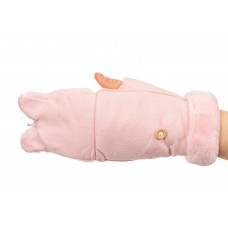 На фото 1 - Варежки митенки из велюра, цвет розовый