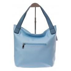 На фото 2 - Классический шоппер из искусственной кожи, цвет голубой