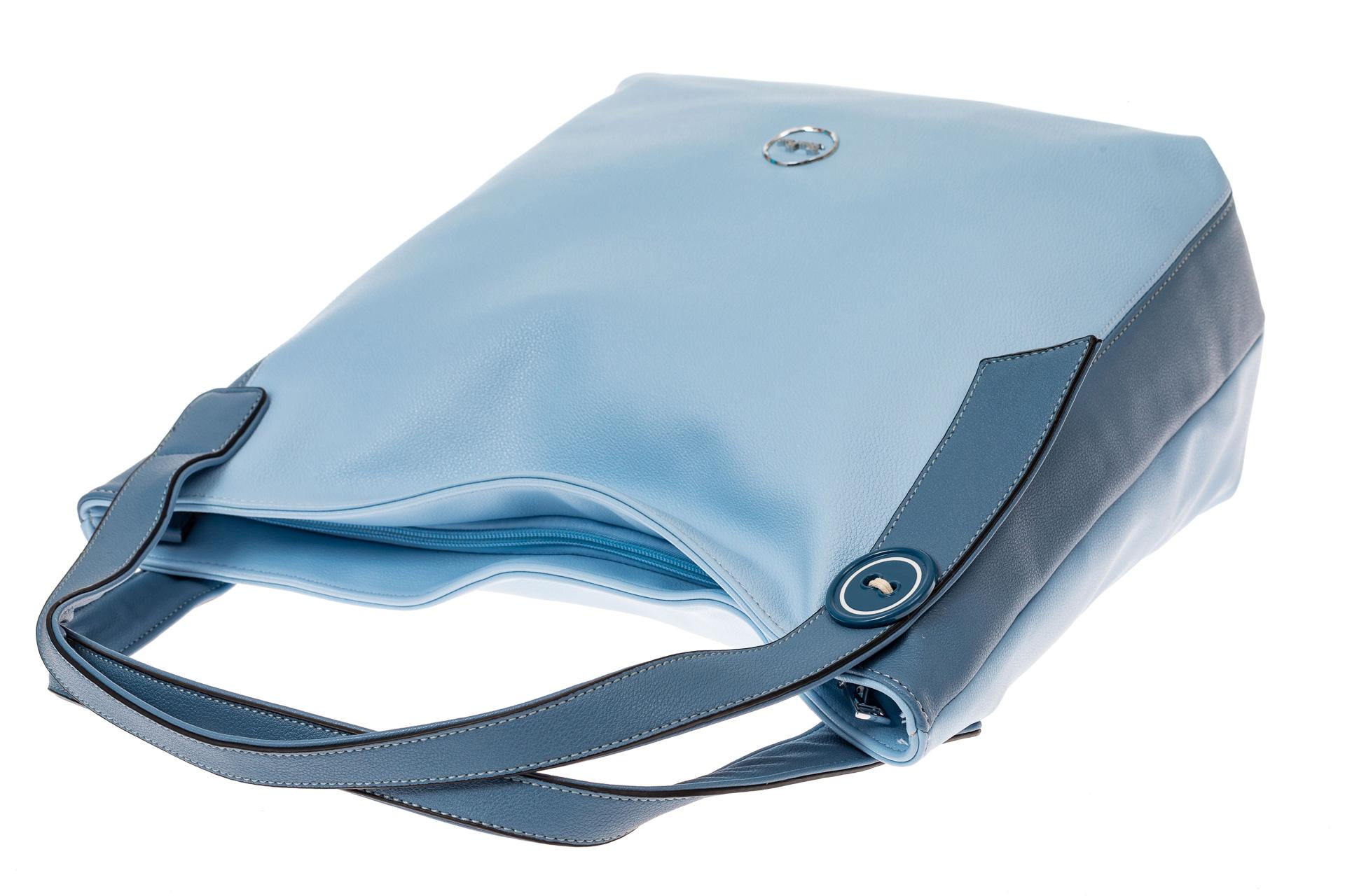 На фото 3 - Классический шоппер из искусственной кожи, цвет голубой