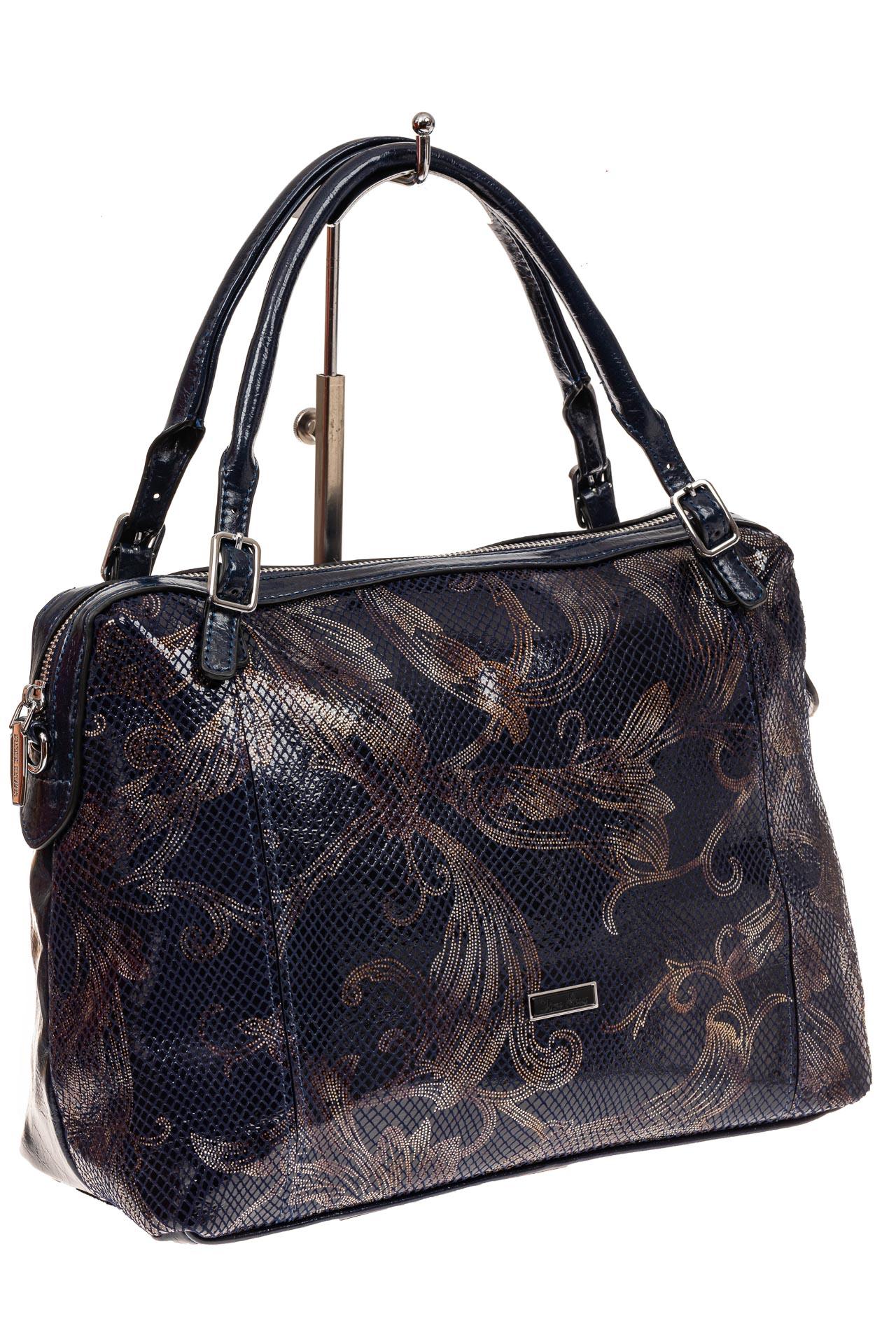 На фото 1 - Комбинированная женская сумка из искусственной (экокожи) и натуральной кожи, синяя