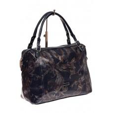 На фото 1 - Комбинированная сумка из искусственной и натуральной кожи, цвет синий