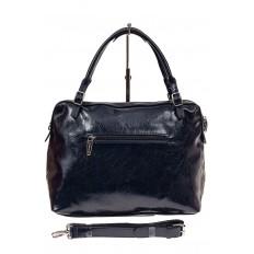 На фото 2 - Комбинированная женская сумка из искусственной (экокожи) и натуральной кожи, синяя