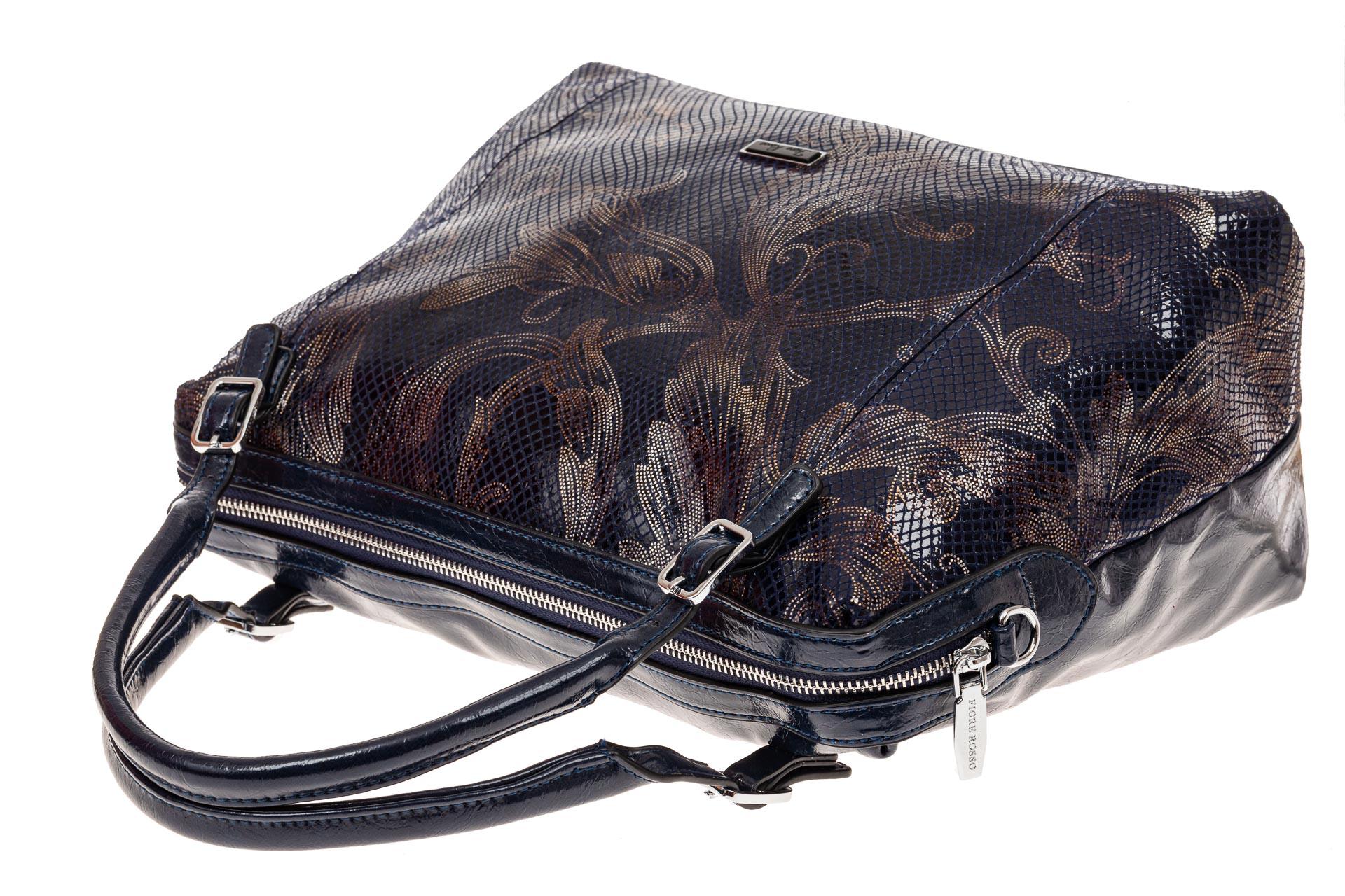 На фото 3 - Комбинированная женская сумка из искусственной (экокожи) и натуральной кожи, синяя