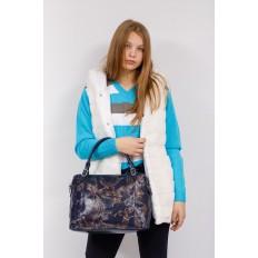 На фото 4 - Комбинированная женская сумка из искусственной (экокожи) и натуральной кожи, синяя
