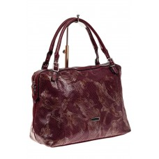 На фото 1 - Комбинированная сумка из искусственной и натуральной кожи, цвет бордовый