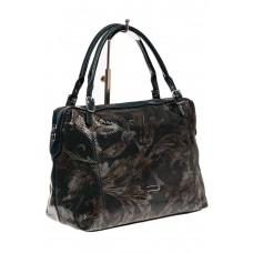 На фото 1 - Комбинированная сумка из искусственной и натуральной кожи, цвет зеленый