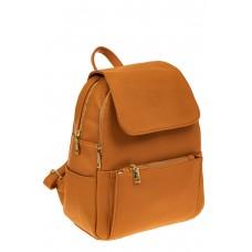 На фото 1 - Женский рюкзак из искусственной кожи с клапаном, цвет рыжий