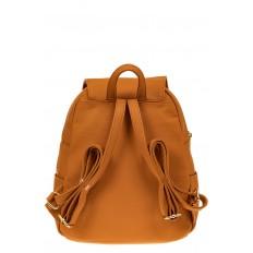 На фото 2 - Женский рюкзак из искусственной кожи с клапаном, цвет рыжий