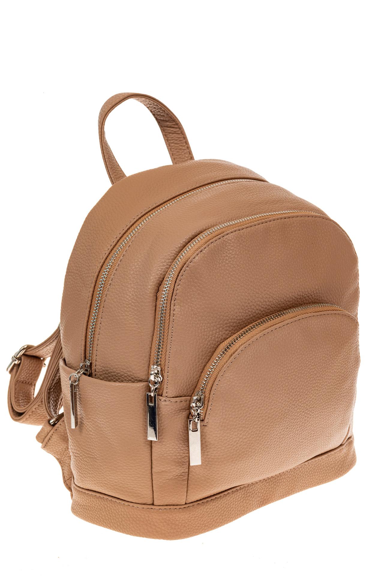 На фото 1 - Женский рюкзачок для города из искусственной кожи, цвет бежевый