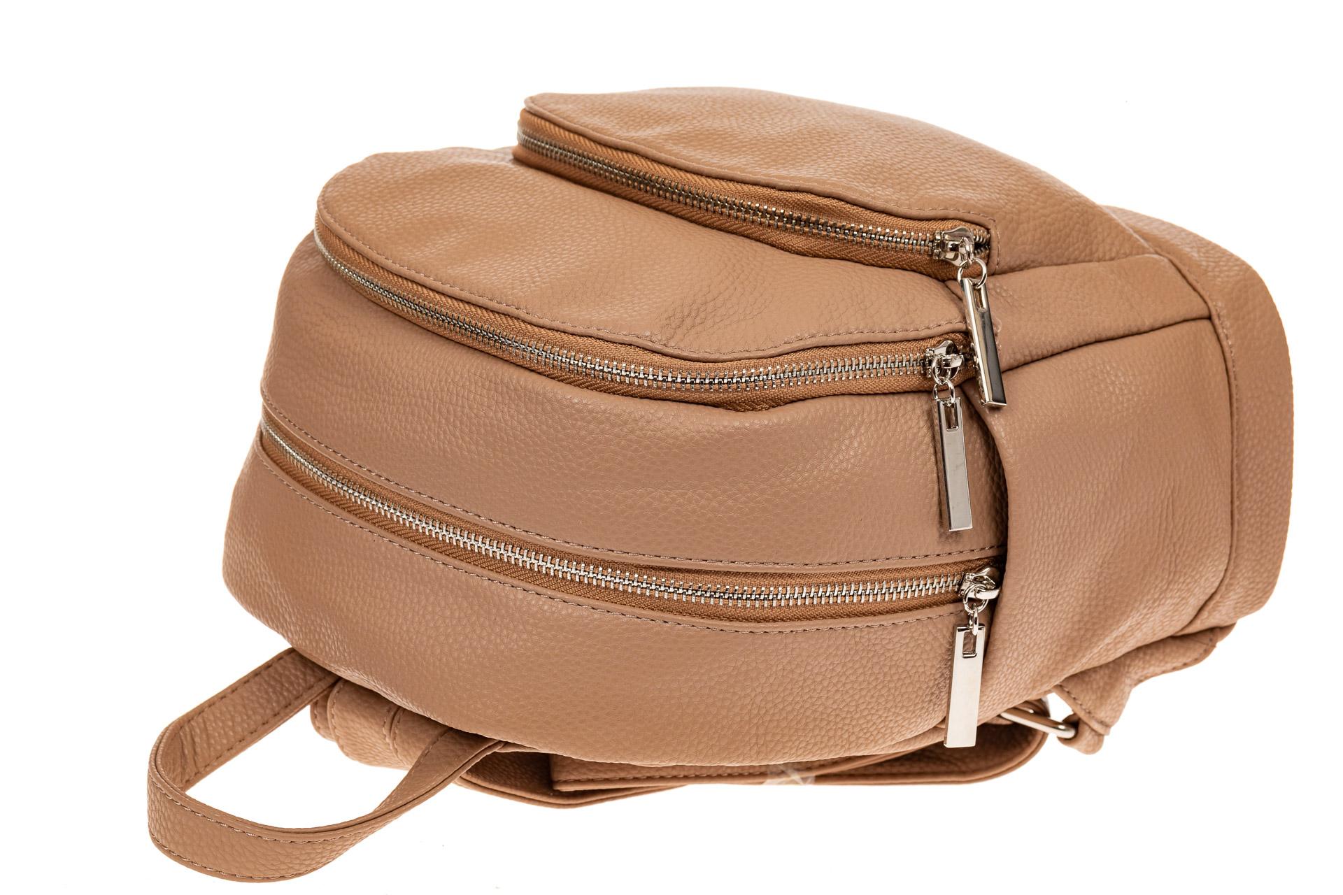 На фото 3 - Женский рюкзачок для города из искусственной кожи, цвет бежевый