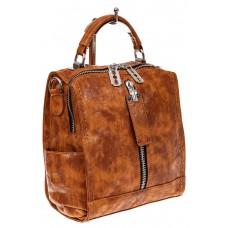 На фото 1 - Сумка-рюкзак из искусственной кожи, цвет ры...