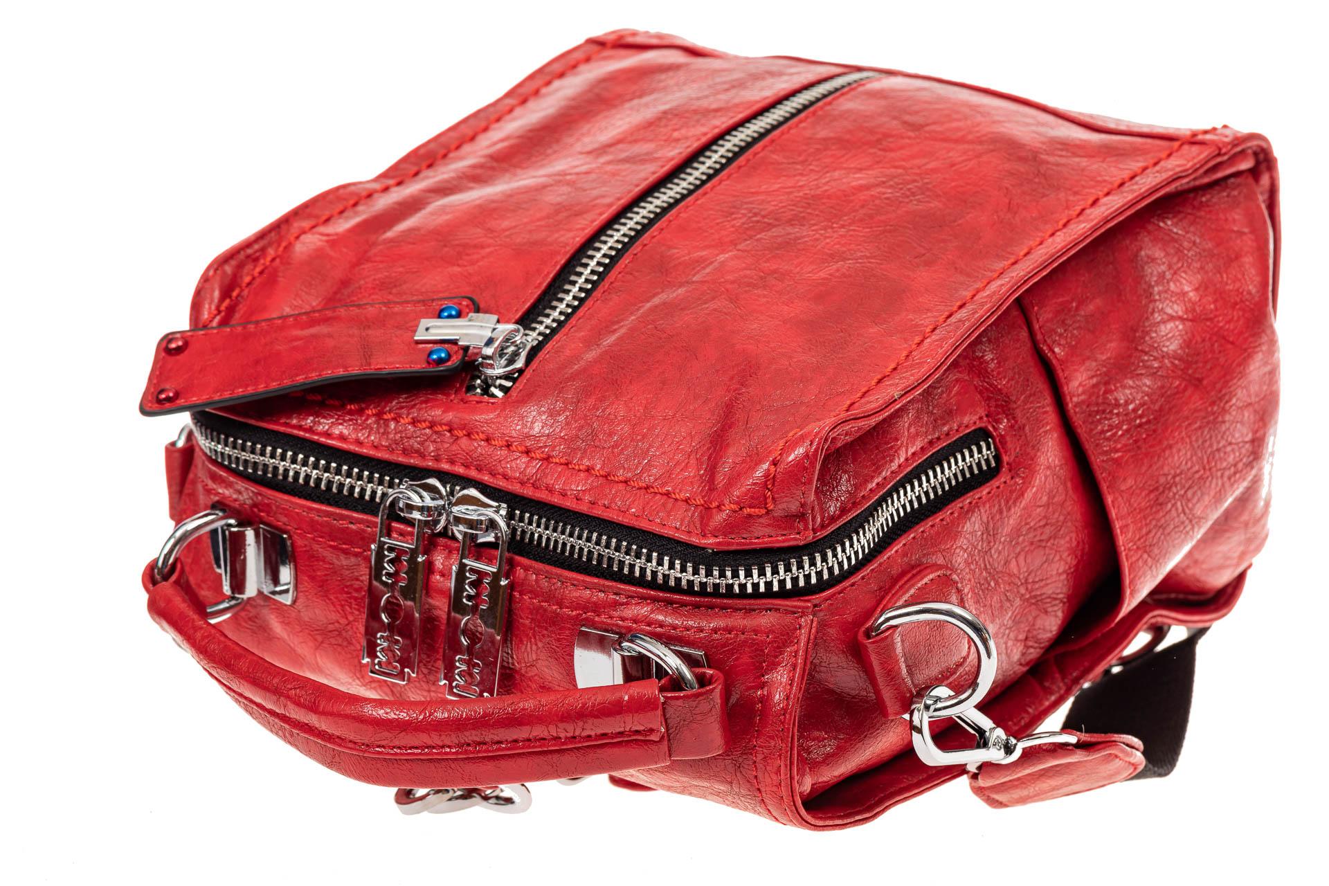 На фото 4 - Сумка женская рюкзак из искусственной кожи, цвет красный