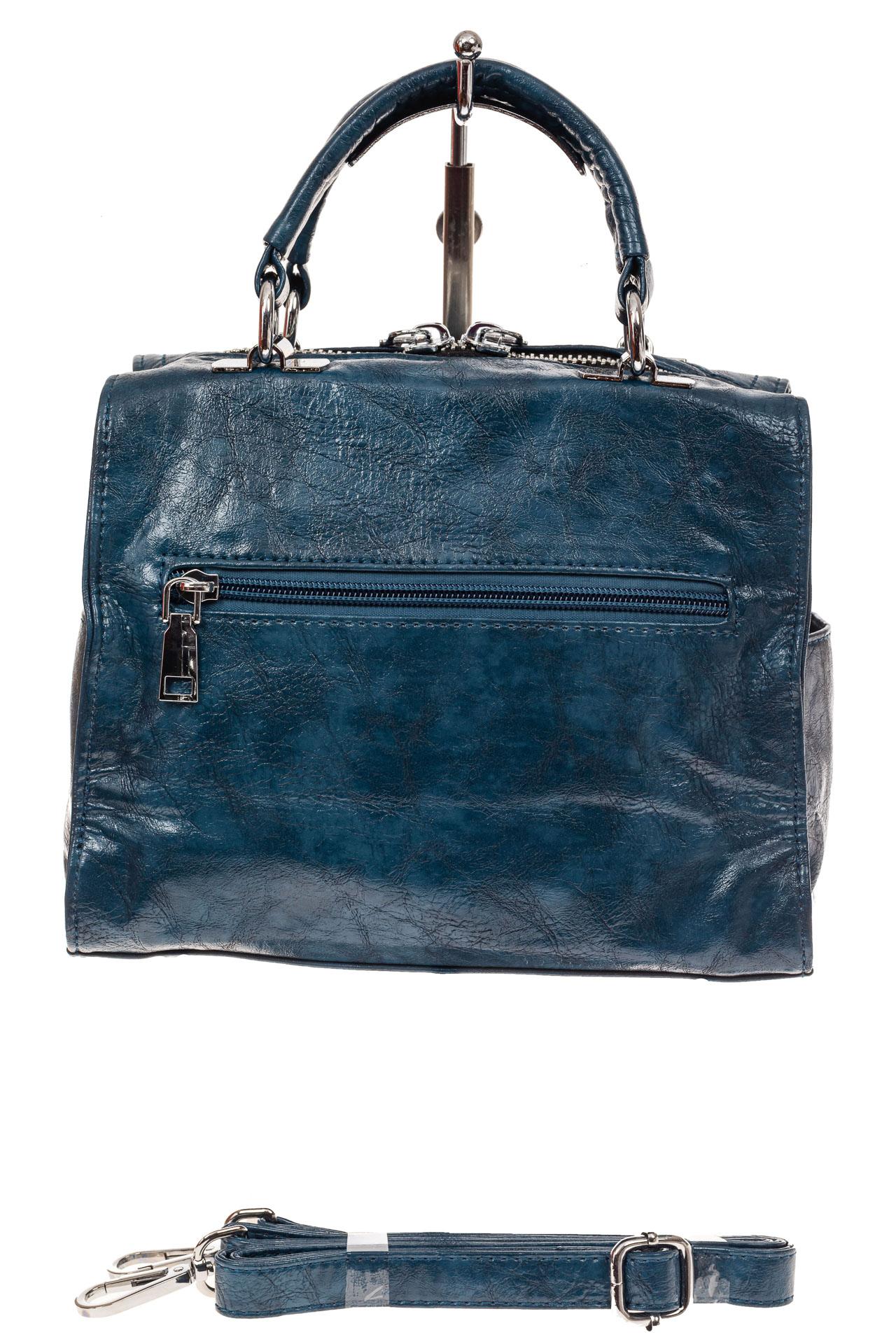 На фото 2 - Сумка кросс-боди из искусственной кожи, цвет голубой