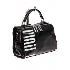 На фото 1 - Сумка-рюкзак из искусственной кожи, цвет че...