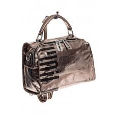 На фото 1 - Сумка-рюкзак из искусственной кожи, цвет се...