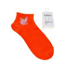 На фото 1 - Носки женские с забавным принтом, цвет оранжевый