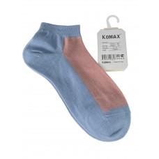 На фото 1 - Короткие женские носки, цвет голубой с розовым