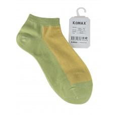На фото 1 - Короткие женские носки, цвет салатовый с жёлтым