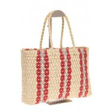 на фото Сумка шопер из соломы с серо-красным орнаментом 6S17-61