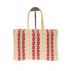 На фото 2 - Сумка шопер из соломы с серо-красным орнаментом 6S17-61