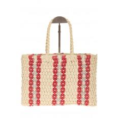 На фото 3 - Сумка шопер из соломы с серо-красным орнаментом 6S17-61