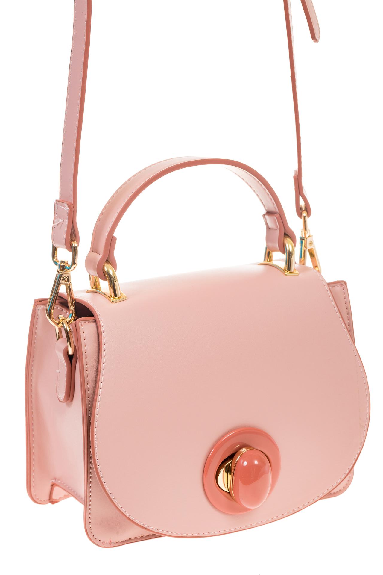 На фото 1 - Розовая кросс-боди с акцентным замком и оригинальной формой H-07