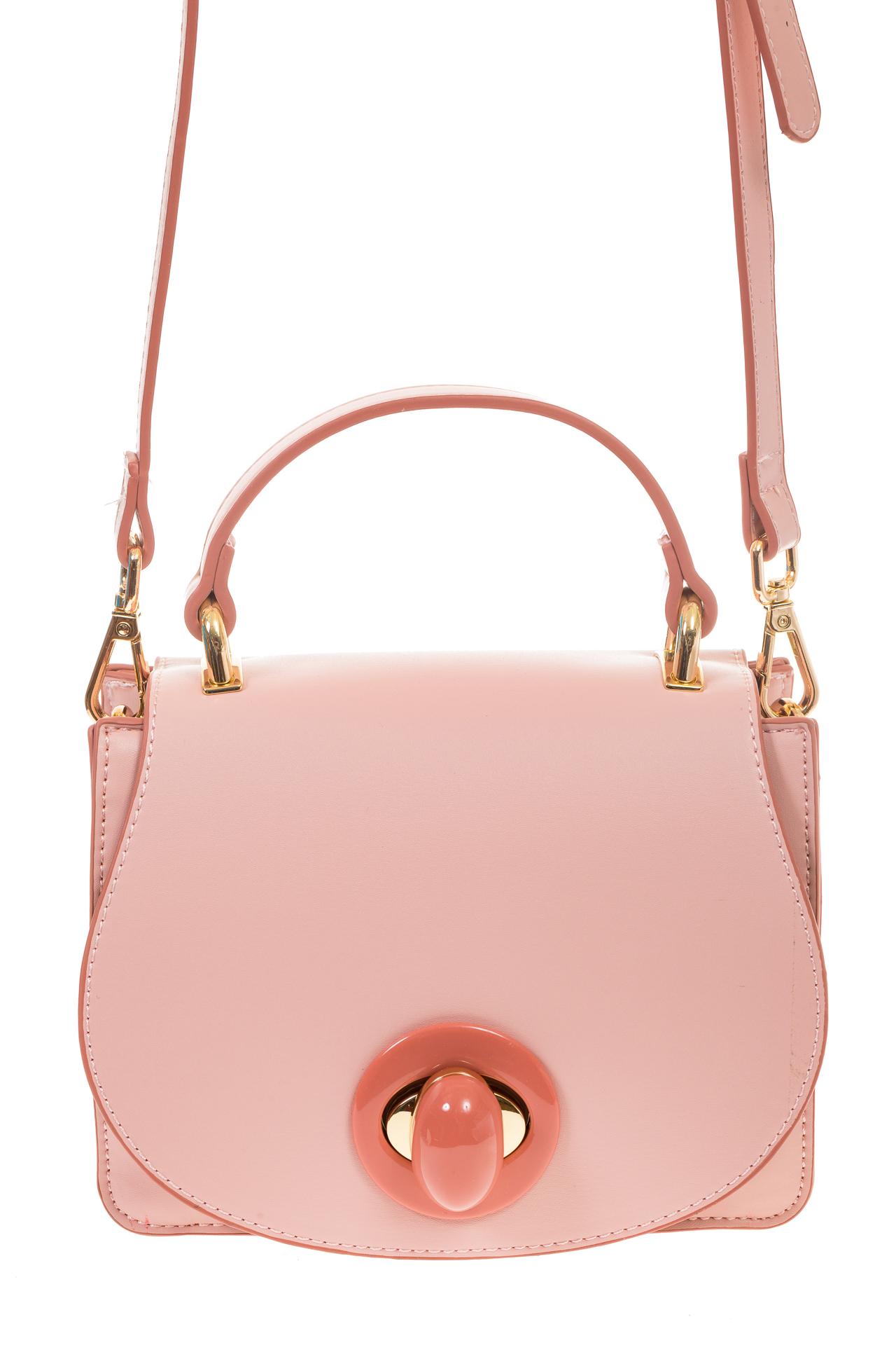 На фото 2 - Розовая кросс-боди с акцентным замком и оригинальной формой H-07