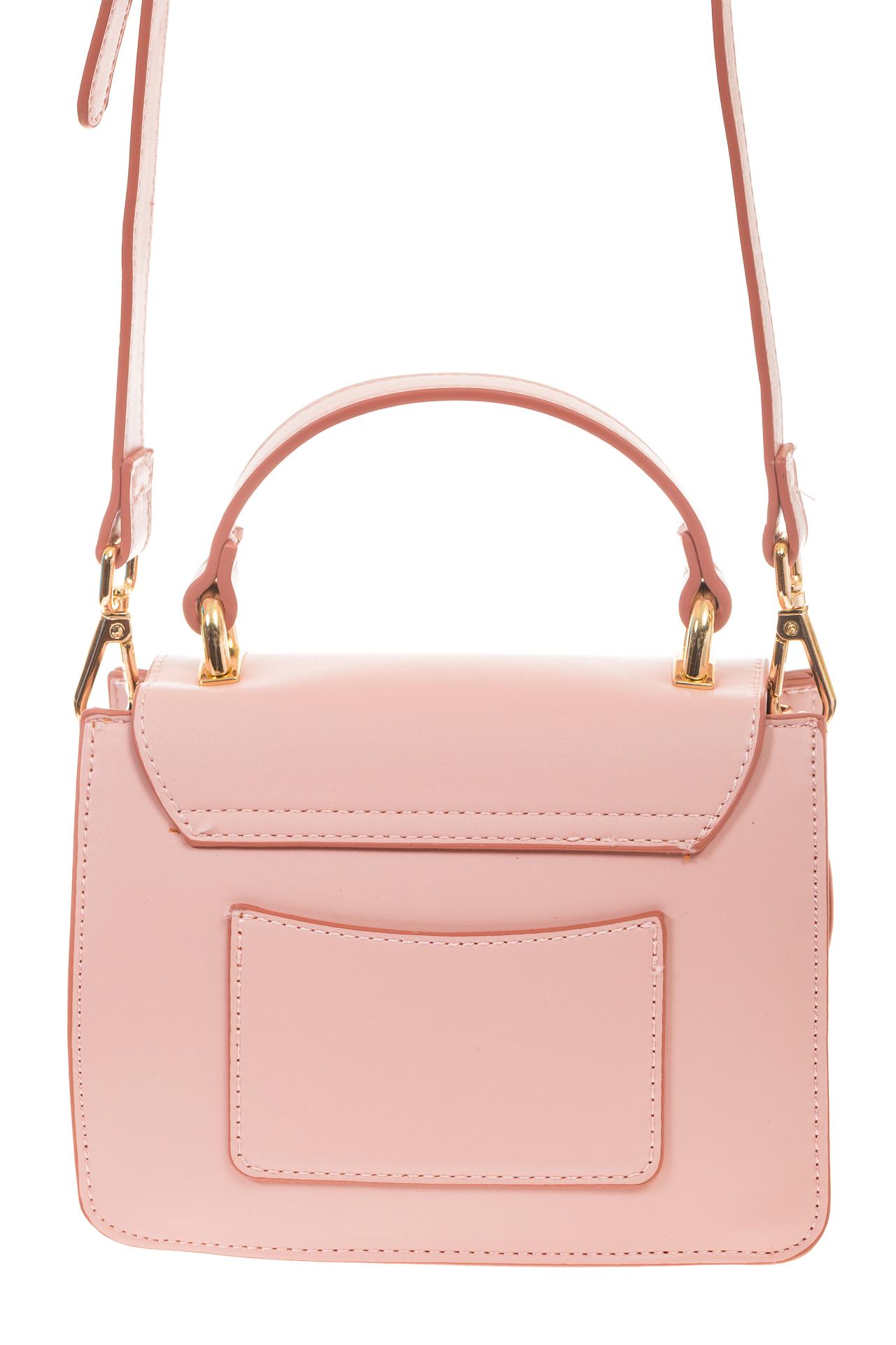 На фото 3 - Розовая кросс-боди с акцентным замком и оригинальной формой H-07