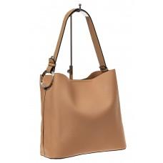 На фото 1 - Вместительная сумка шоппер из искусственной кожи, цвет бежевый