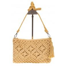 На фото 2 - Плетеная сумочка-flat в стиле макраме кремового цвета H4708
