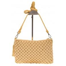 На фото 3 - Плетеная сумочка-flat в стиле макраме кремового цвета H4708