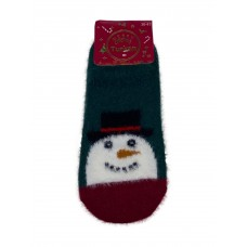 На фото 1 - Тёплые носки-следки из шерсти соболя с новогодним принтом, мультицвет