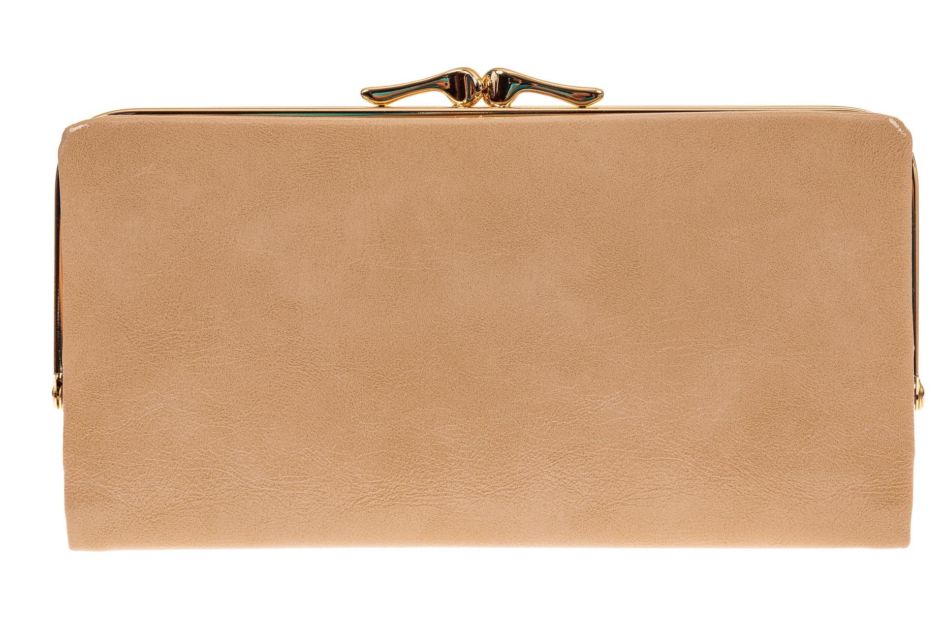 На фото 1 - Женское портмоне из искусственной кожи, цвет бежевый