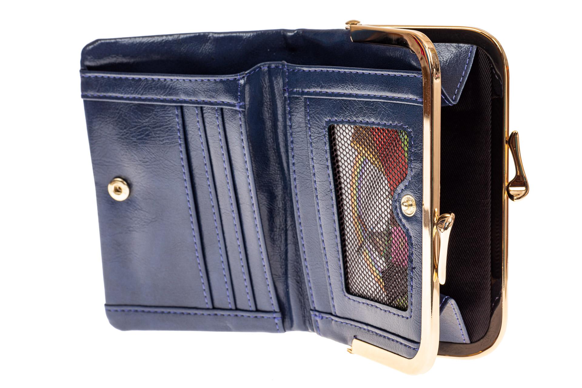 На фото 2 - Женское портмоне из искусственной кожи, цвет синий