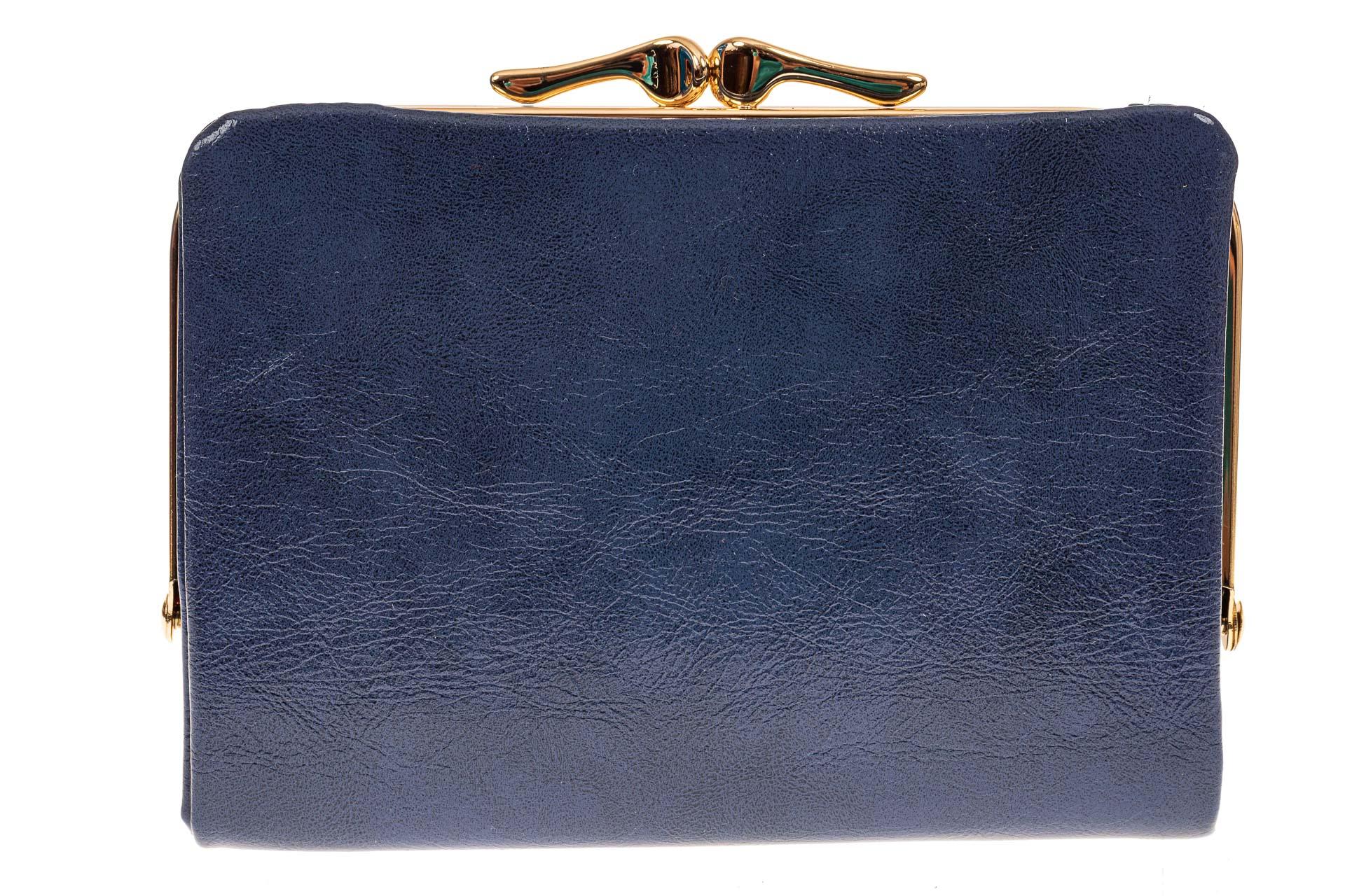 На фото 1 - Женское портмоне из искусственной кожи, цвет синий