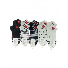 На фото 1 - Женские хлопковые носки с принтом сердечки, 10 пар