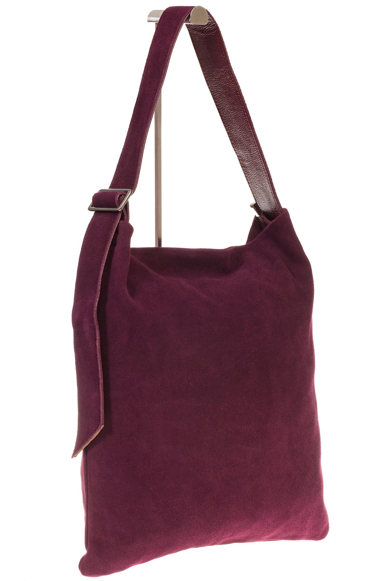 На фото 1 - Вертикальная сумка из натуральной замши бордового цвета