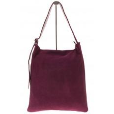 На фото 2 - Вертикальная сумка из натуральной замши бордового цвета