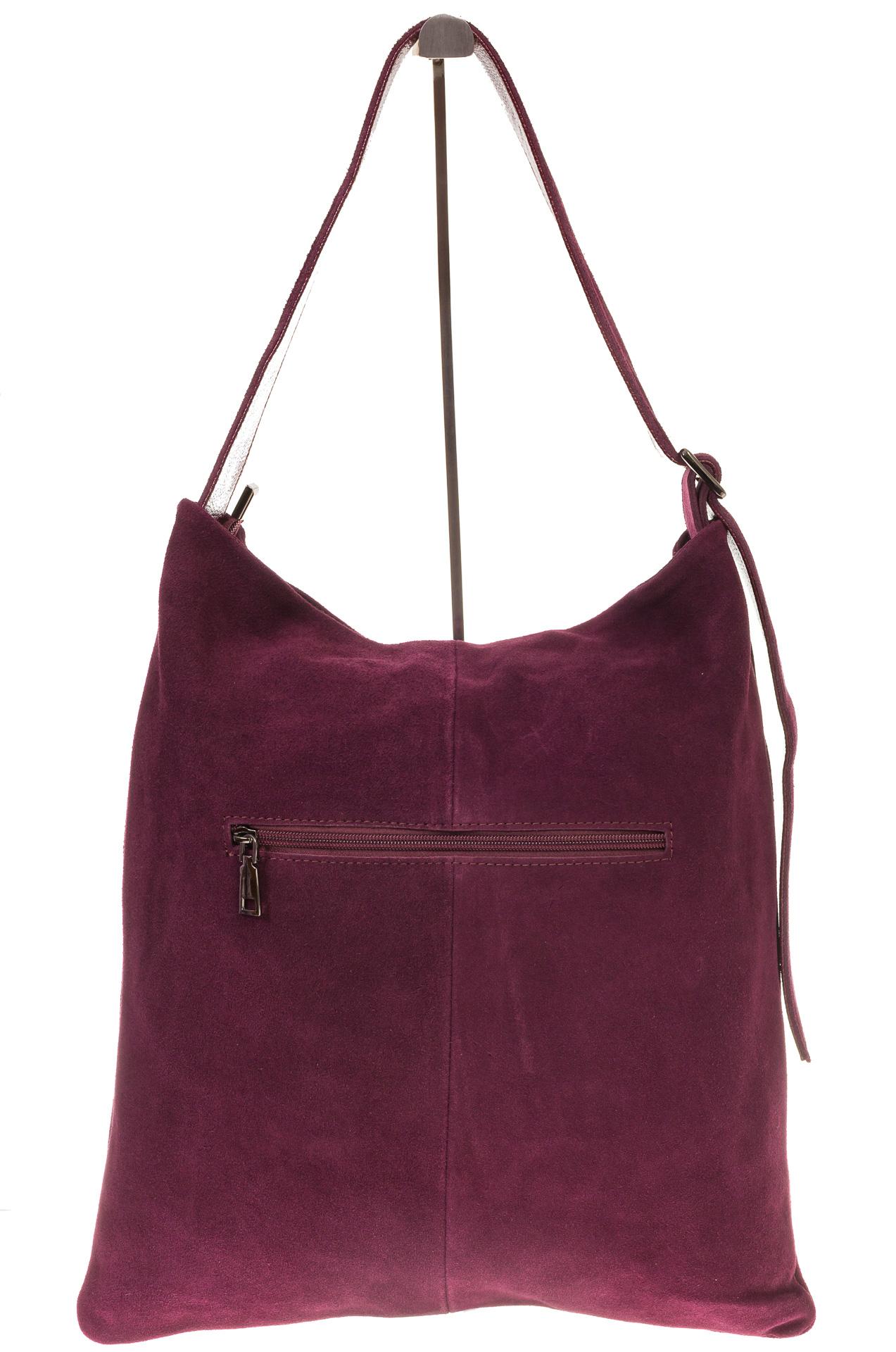 На фото 3 - Вертикальная сумка из натуральной замши бордового цвета