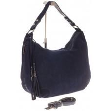 На фото 1 - Синяя сумка хобо из натуральной замши для женщин
