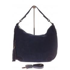 На фото 2 - Синяя сумка хобо из натуральной замши для женщин