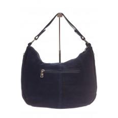На фото 3 - Синяя сумка хобо из натуральной замши для женщин
