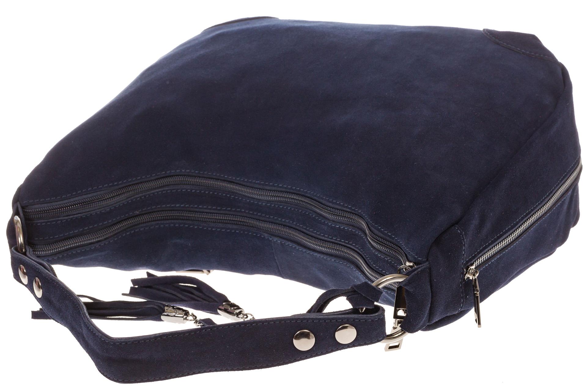На фото 4 - Синяя сумка хобо из натуральной замши для женщин