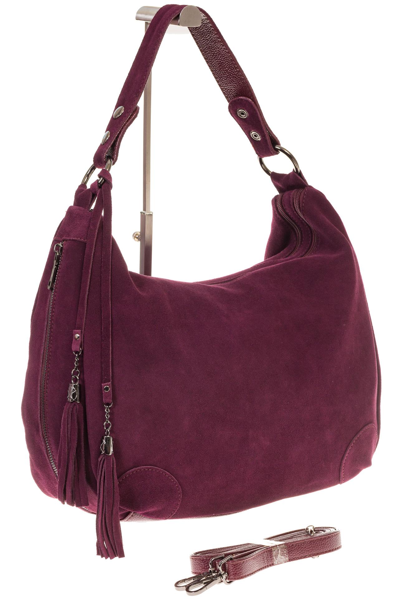 На фото 1 - Бордовая сумка хобо из натуральной замши для женщин
