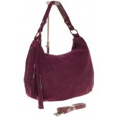 На фото 1 - Бордовая сумка хобо из натуральной замши дл...
