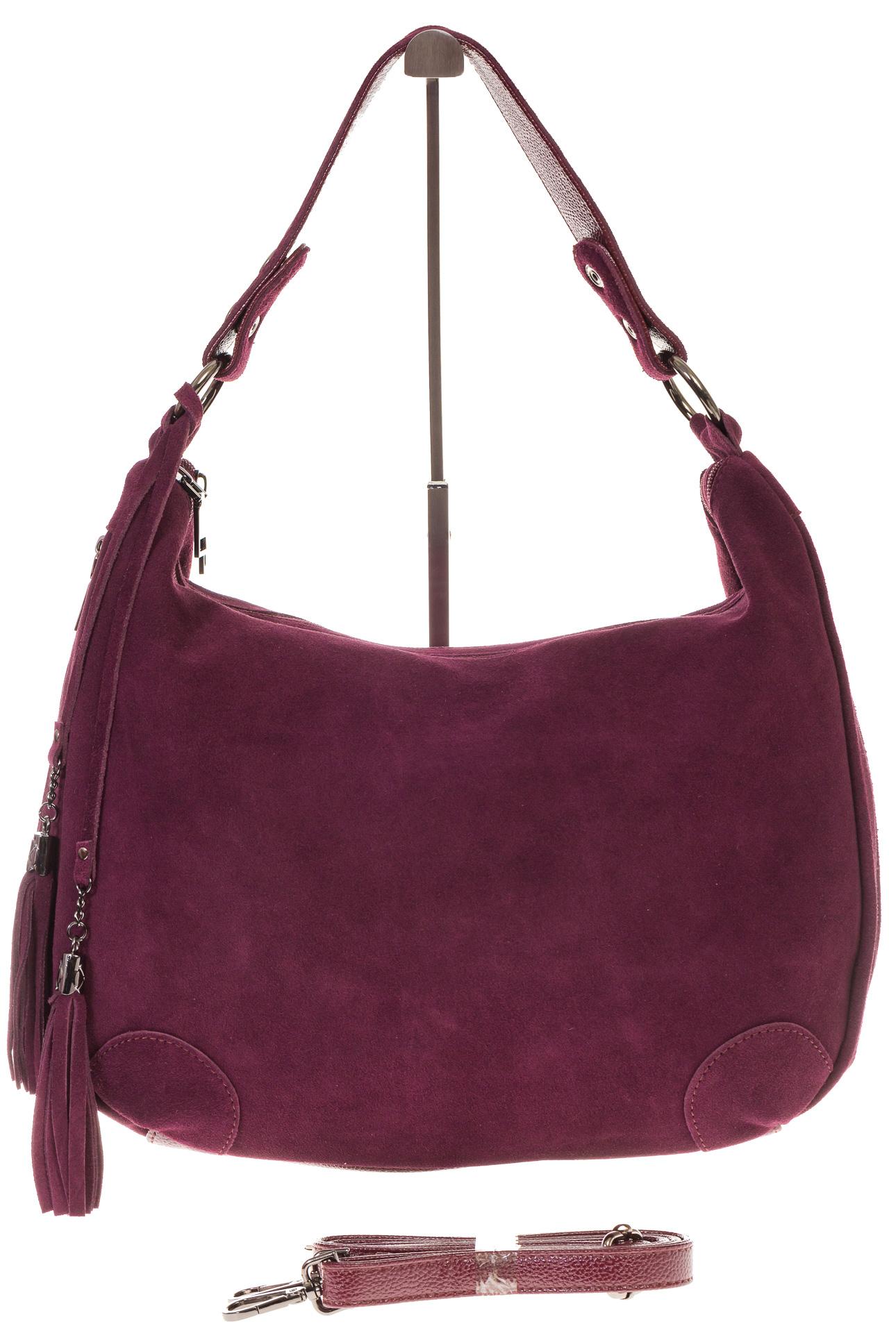 На фото 2 - Бордовая сумка хобо из натуральной замши для женщин